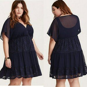 Sz 1x/14 Torrid Lace Inset Boho Chiffon Dress Blue